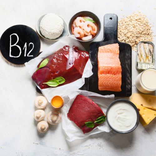 لبنیات- گوشت قرمز- ماهی- میگو- غلات-قارچ-ویتامین B12